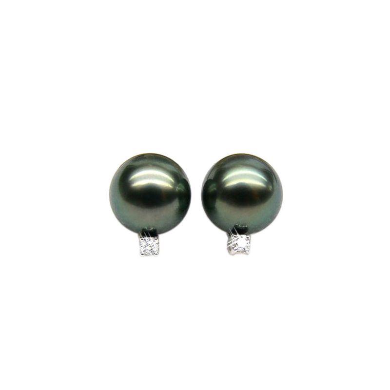 Orecchini - Farfallina oro bianco - Perle di Tahiti nere, bronzo - 9/10mm