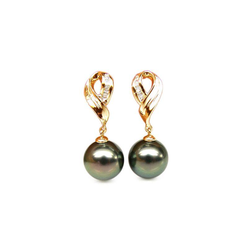 Orecchini nastro - Pendenti oro giallo - Perle di Tahiti nere, pavone - 9/10mm