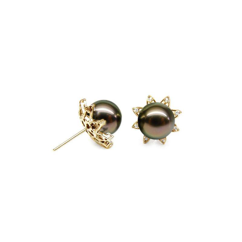 Orecchini stella - Farfallina oro giallo -  Perle di Tahiti nere, bronzo - 10/10.5mm
