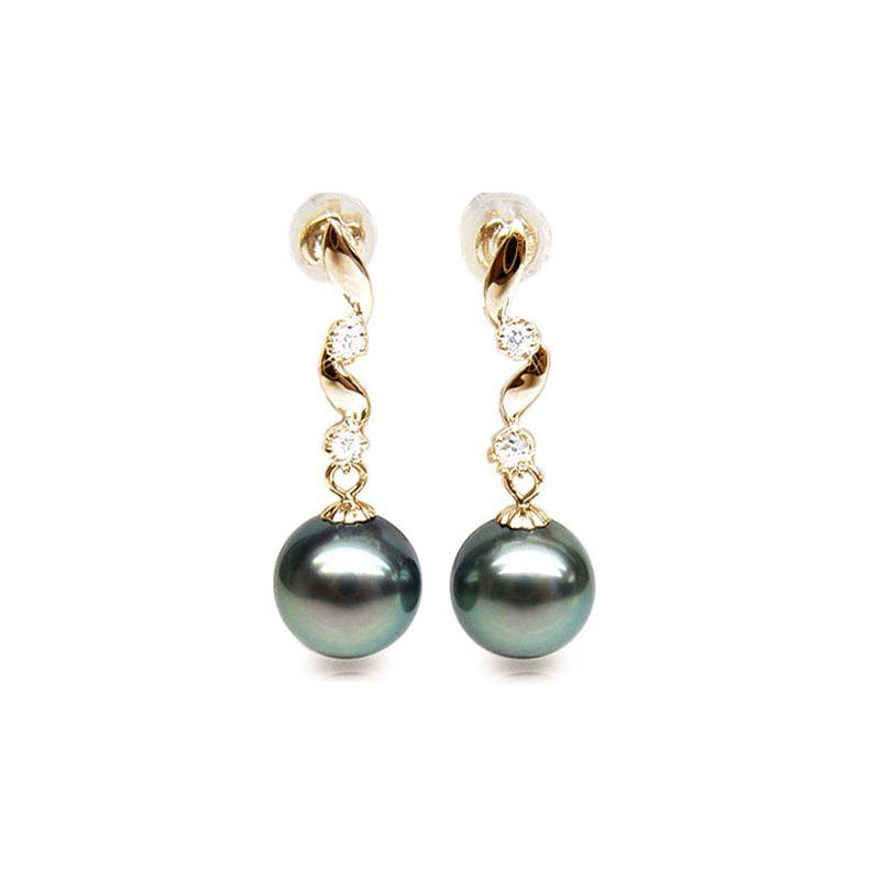 Orecchini - Pendenti oro giallo -  Perle di Tahiti nere, blu - 10/10.5mm
