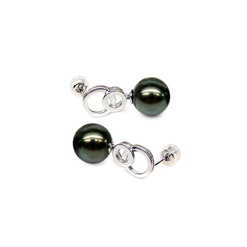 Orecchini cerchi - Pendenti oro bianco - Perle di Tahiti nere, verdi - 9/10mm