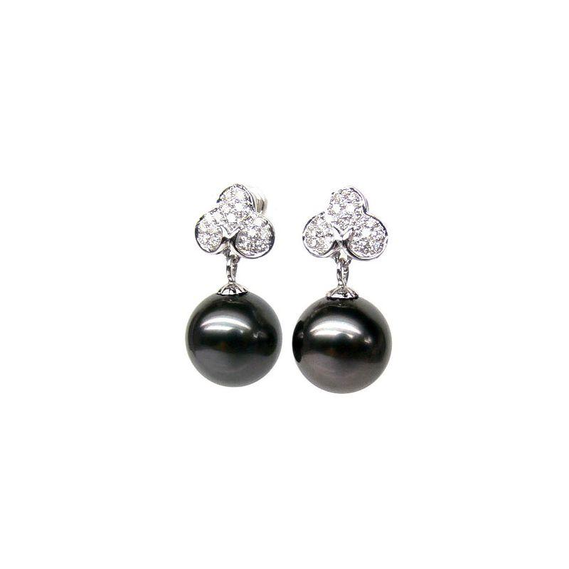 Orecchini trifogli - Pendenti oro bianco -  Perle di Tahiti nere - 10/11mm