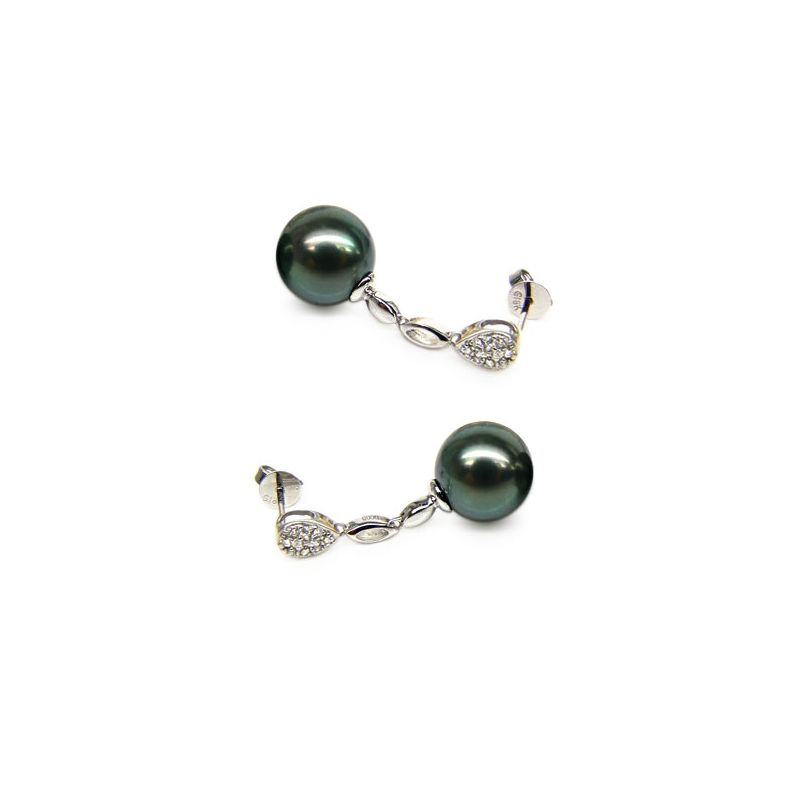 Orecchini diamanti - Pendenti oro bianco -  Perle di Tahiti nere, verdi - 10/11mm