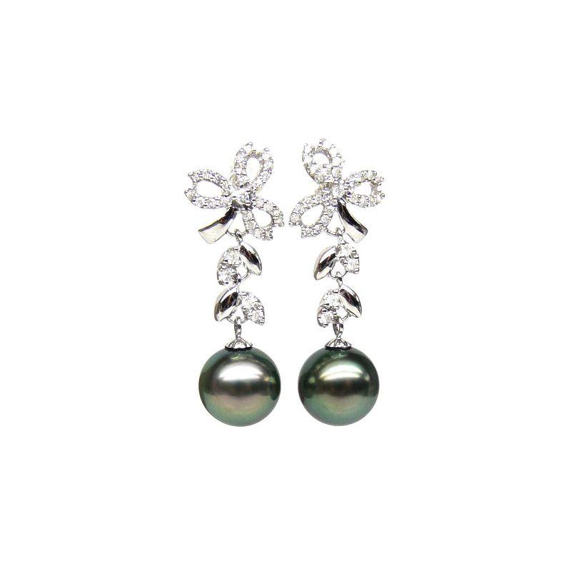 Orecchini fiocco - Pendenti oro bianco -  Perle di Tahiti nere, pavone - 10/11mm