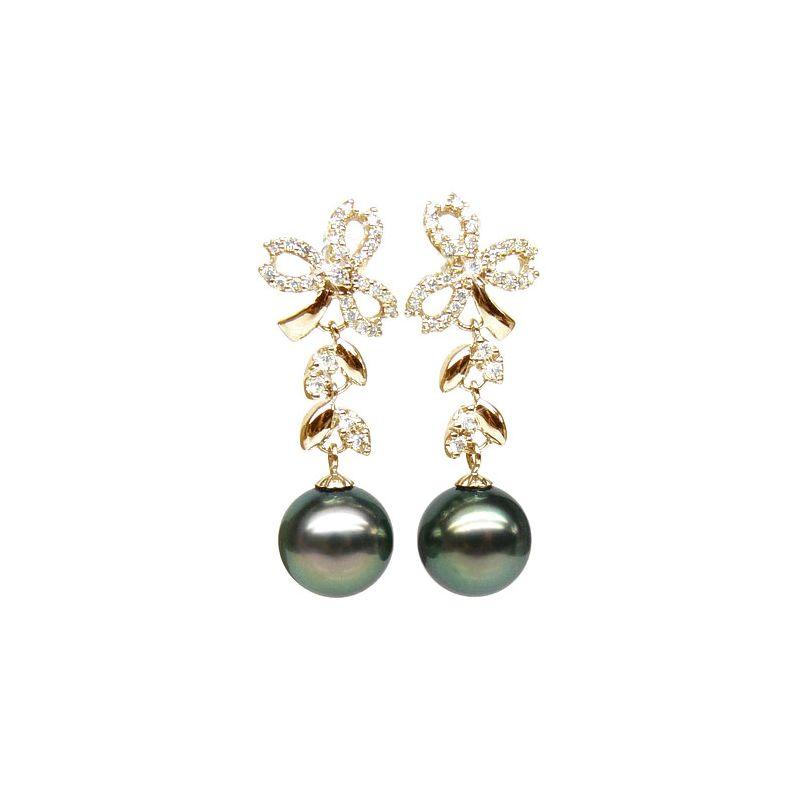 Orecchini fiocco - Pendenti oro giallo -  Perle di Tahiti nere, pavone - 10/11mm