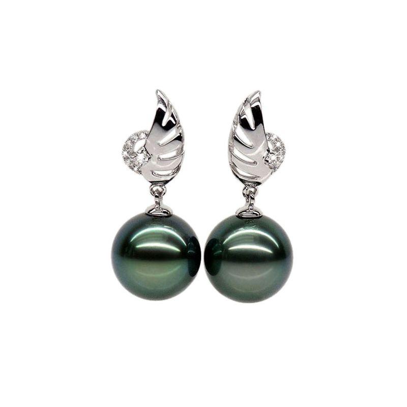 Orecchini ali - Pendenti oro bianco - Perle di Tahiti nere, verde - 9/10mm