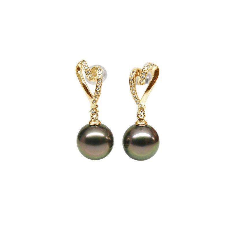 Orecchini - Pendenti oro giallo - Perle di Tahiti nere, pavone, melanzana - 9/10mm