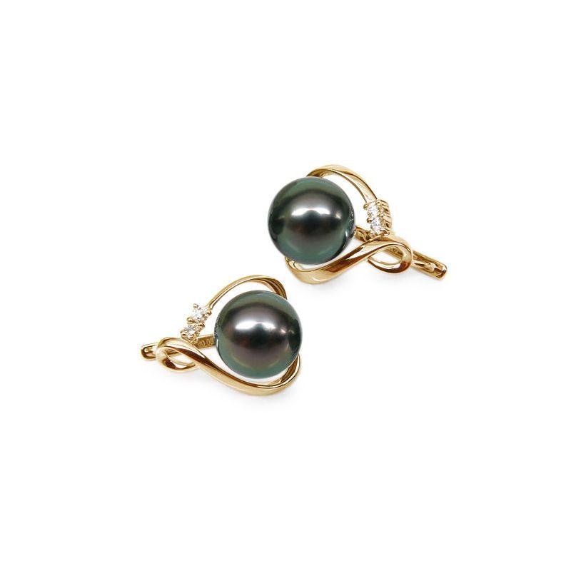 Orecchini - Monachella oro giallo - Perle di Tahiti nere, pavone - 9/10mm