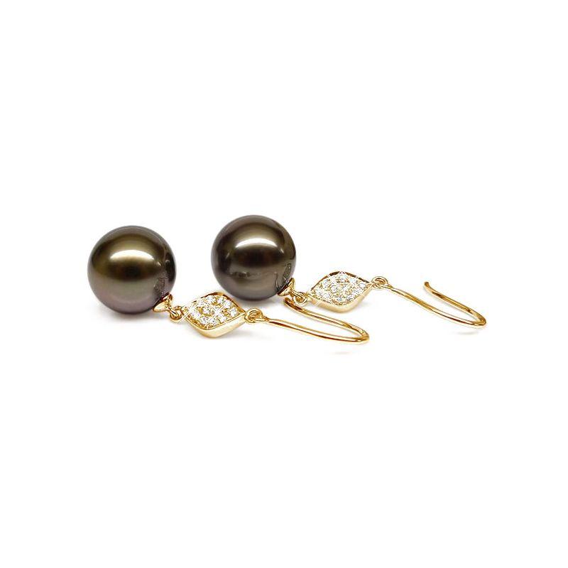 Orecchini diamanti - Gancio oro giallo - Perle di Tahiti nere, bronzo - 9/10mm