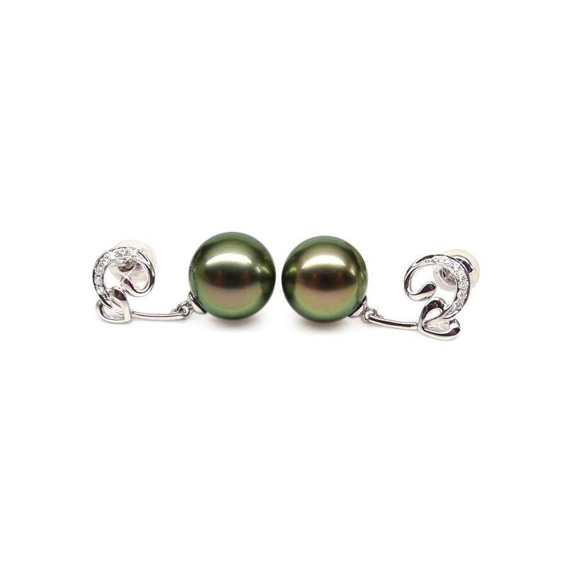 Orecchini cuore - Pendenti oro bianco - Perle di Tahiti nere, pavone - 9/10mm