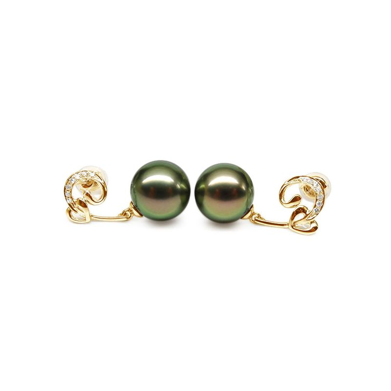 Orecchini cuore - Pendenti oro giallo - Perle di Tahiti nere, pavone - 9/10mm