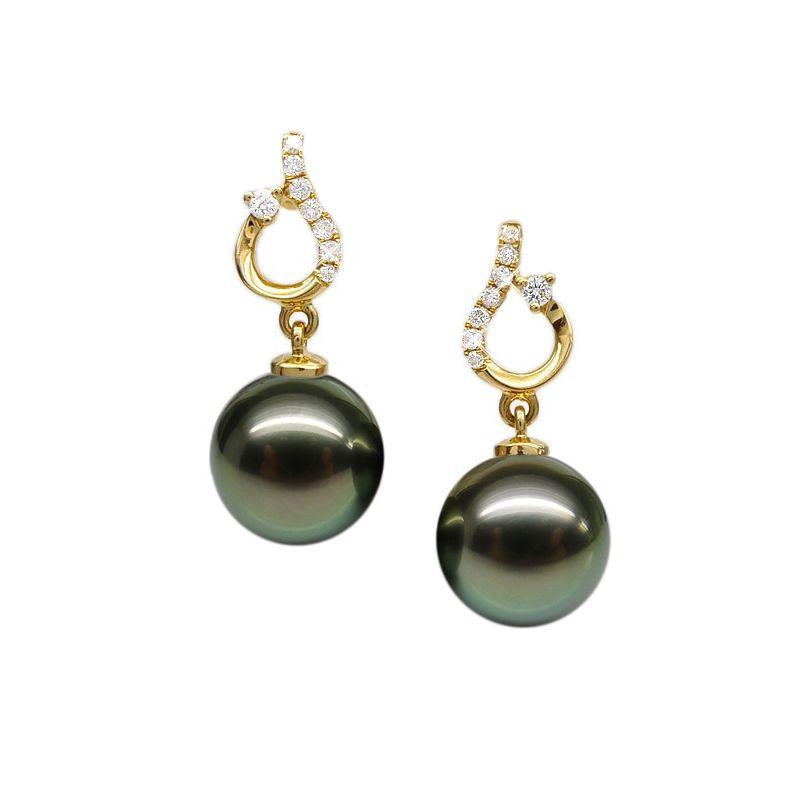 Orecchini - Pendenti oro giallo -  Perle di Tahiti nere, verdi - 10/11mm