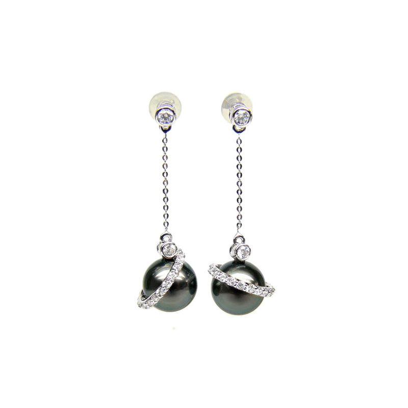 Orecchini corona - Pendenti oro bianco - Perle di Tahiti nere, blu - 9/10mm