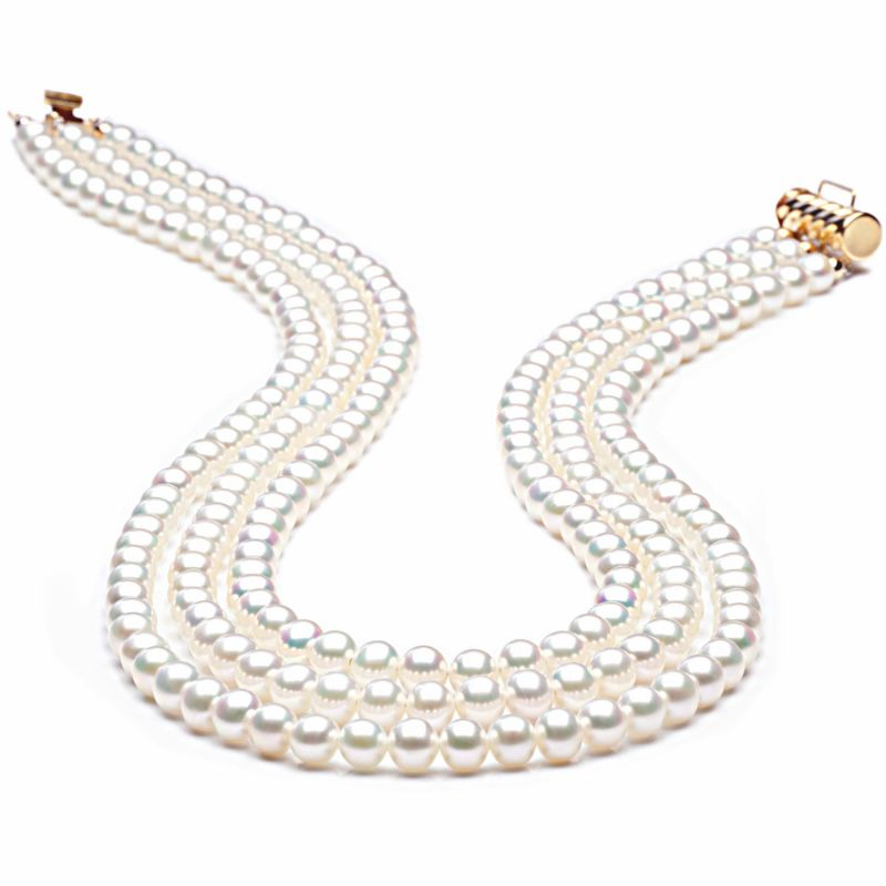 Collana tre fili perle acqua dolce bianche - 5/5.5mm, AA+