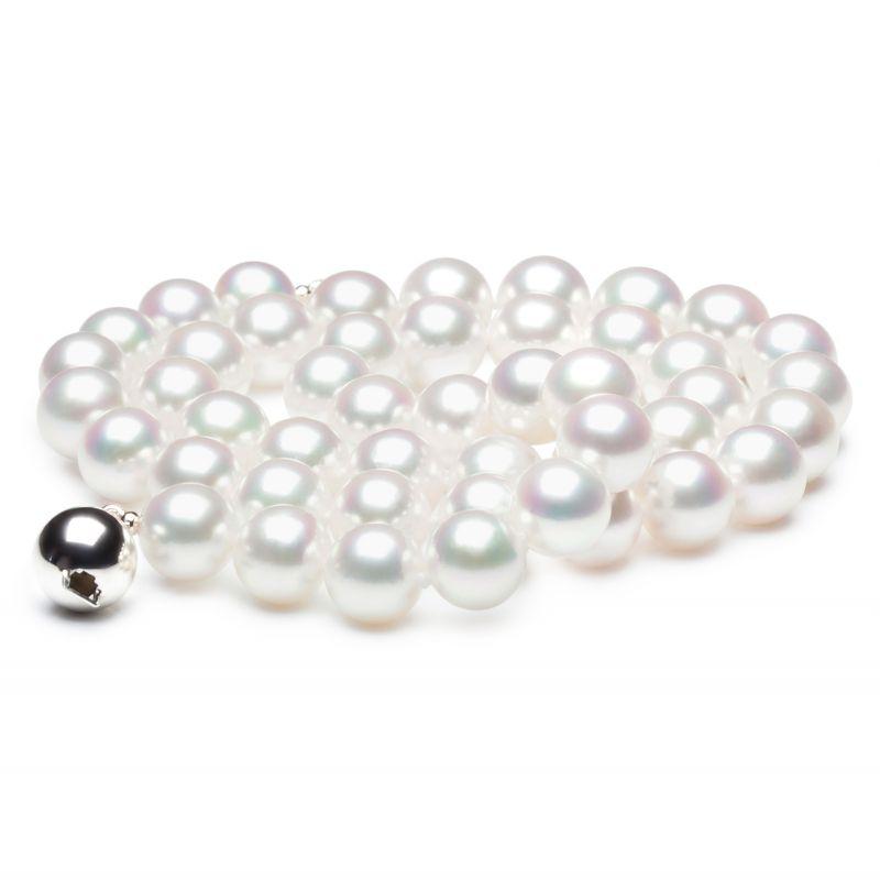 Collana di perle Akoya giapponesi bianche - 8/8.5mm, AAA