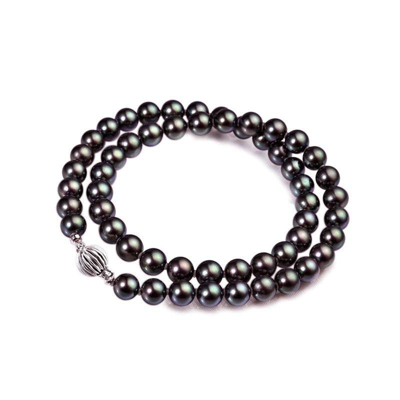 Collana di perle Akoya giapponesi nere, verdi - 6.5/7mm, AAA