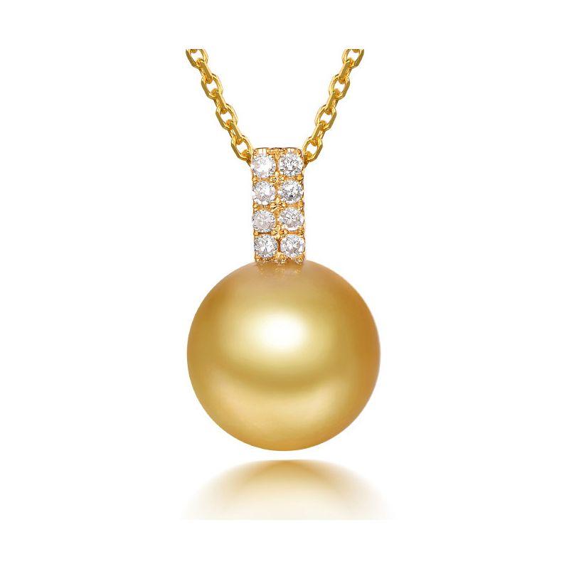 Ciondolo oro giallo - Perla d'Australia dorata - 11/12mm