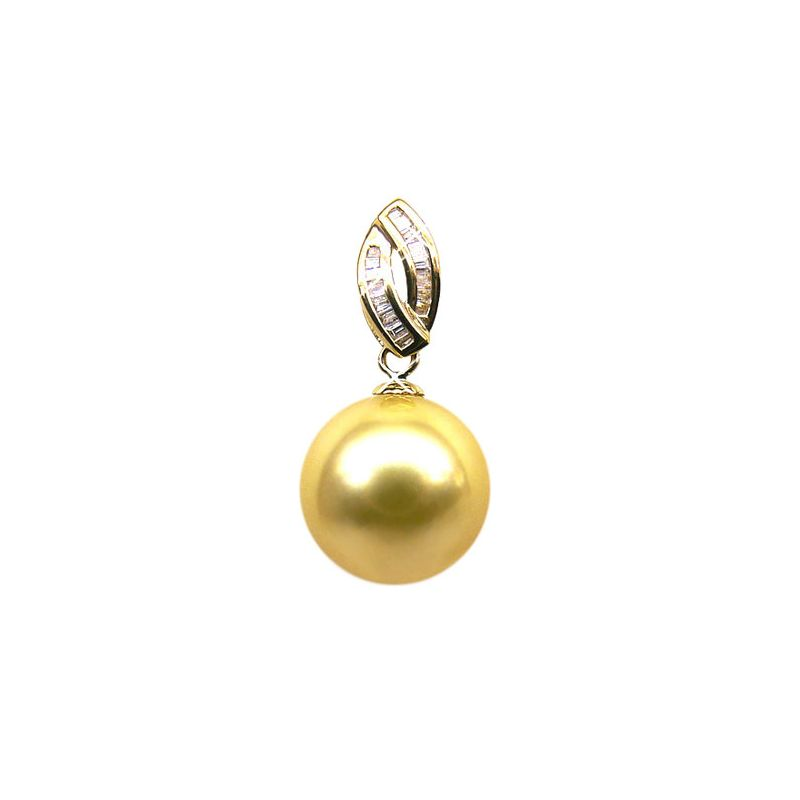 Ciondolo diamanti oro giallo - Perla d'Australia dorata - 12/13mm