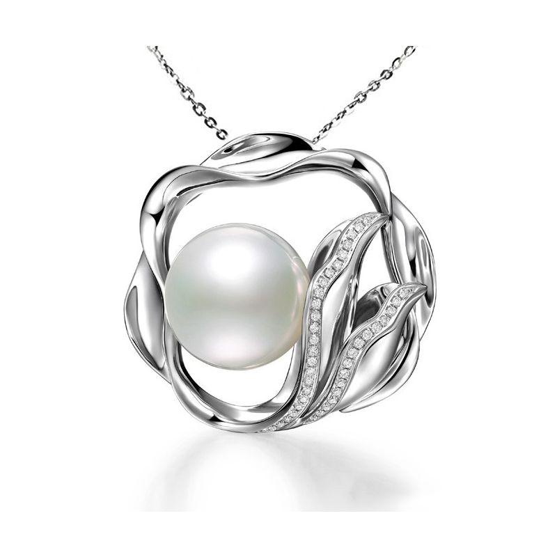 Ciondolo fiore di loto - Perla d'Australia bianca - Oro bianco e diamanti