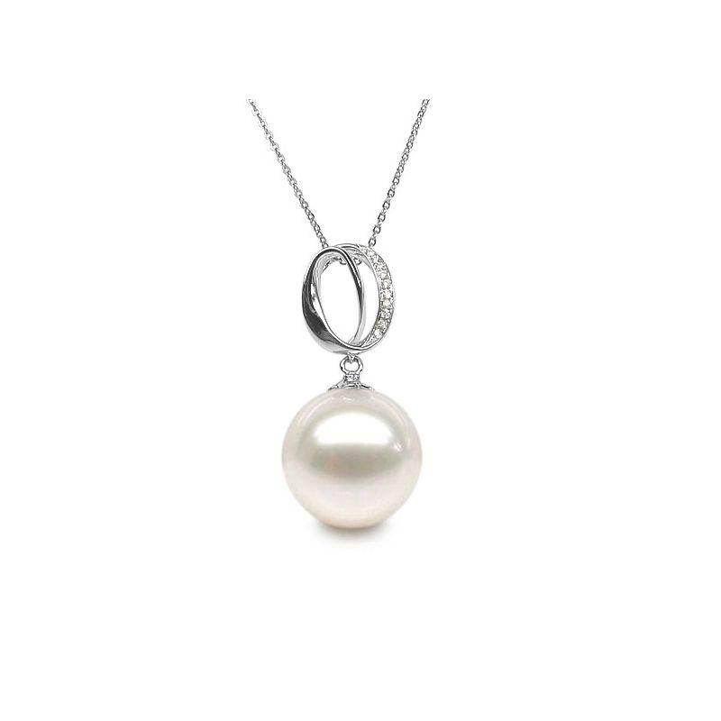 Ciondolo O - fascia in oro bianco diamantata - Perla coltivata cinese