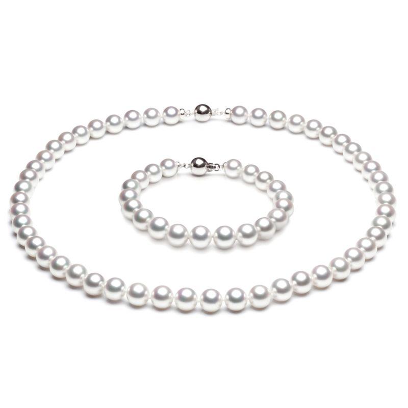 Parure perle oro bianco del Giappone - Perle di mare Akoya