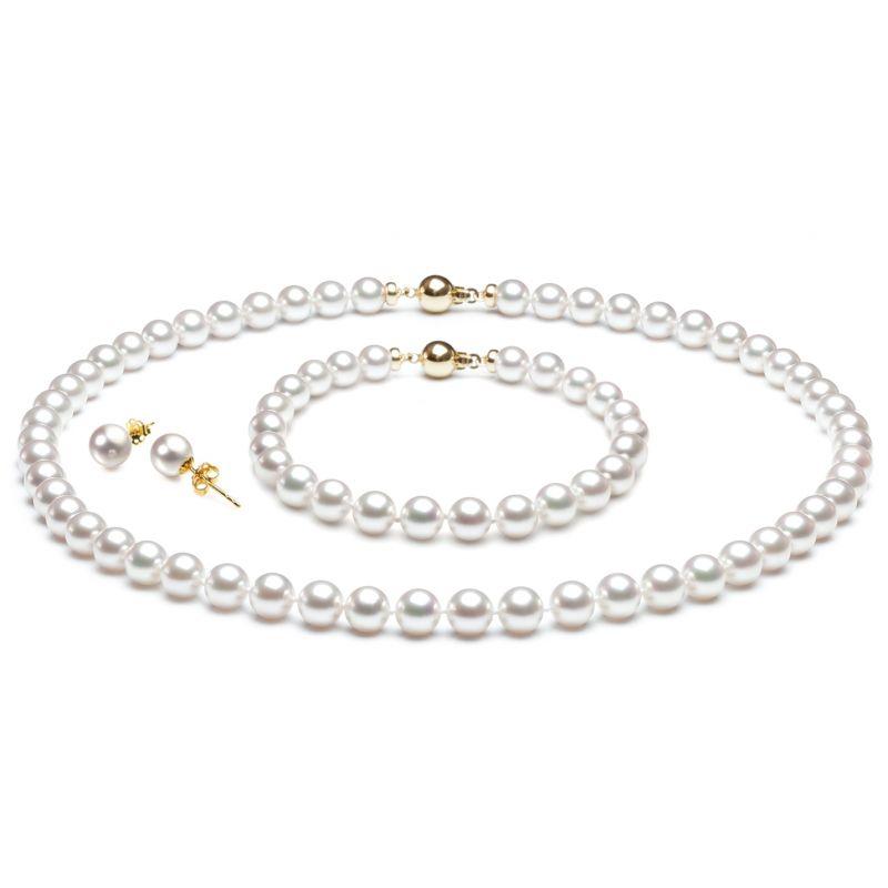 Parure perle Akoya bianche - Collana, braccialetto, orecchini - Oro giallo