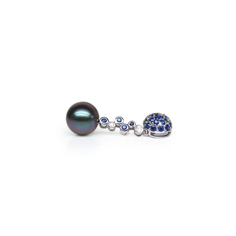 Ciondolo oro bianco, zaffiri, diamanti - Perla di Tahiti nera, blu - 11/12mm