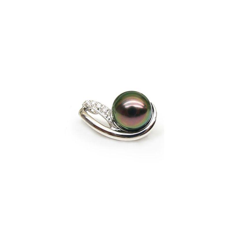 Ciondolo oro bianco - Perla di Tahiti nera, pavone - 8.5/9mm