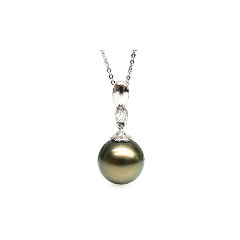 Ciondolo classico oro bianco - Perla di Tahiti nera, bronzo - 10/11mm