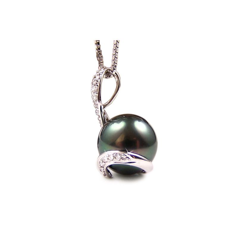 Ciondolo oro bianco - Perla di Tahiti nera, bronzo - 10/11mm