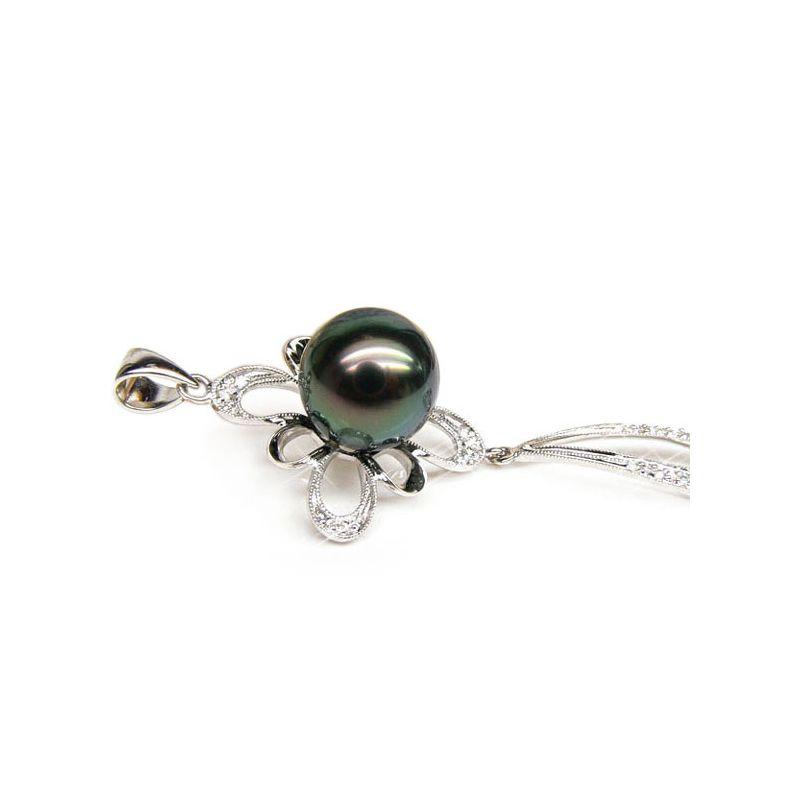 Ciondolo diamanti oro bianco - Perla di Tahiti nera, blu, verde - 10.5/11mm