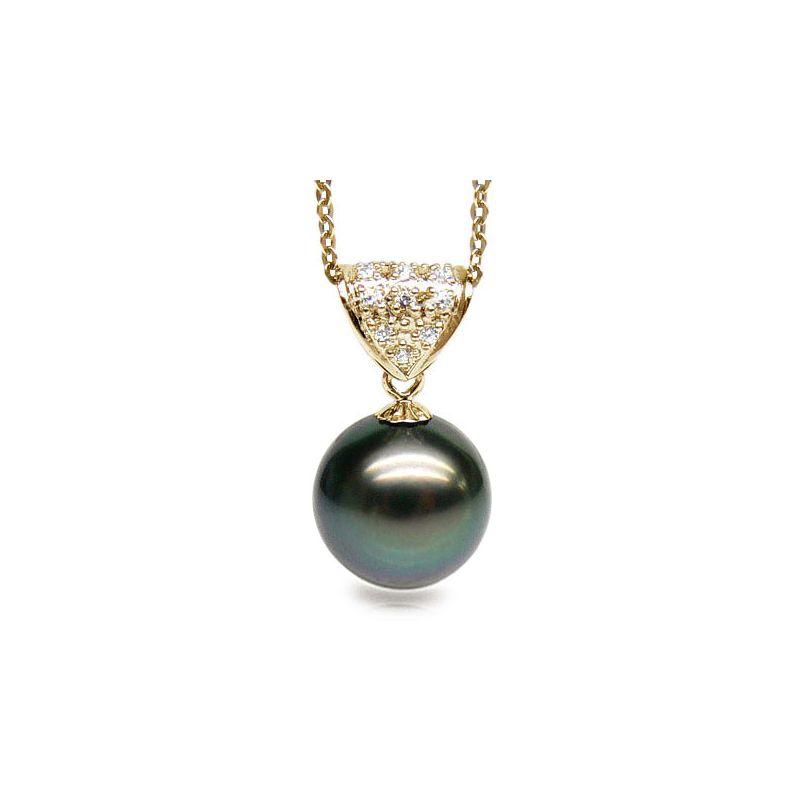 Ciondolo oro giallo - Perla di Tahiti nera, pavone, blu - 11/12mm