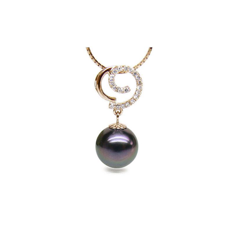 Ciondolo oro giallo - Perla di Tahiti nera, pavone, melanzana - 11/12mm
