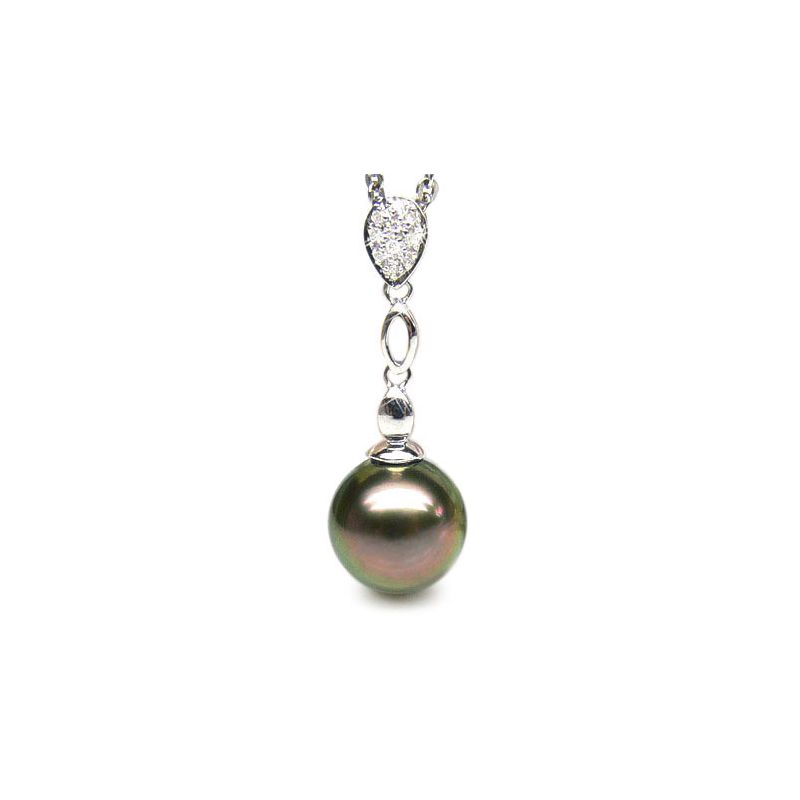 Ciondolo classico oro bianco - Perla di Tahiti nera, pavone - 9/10mm