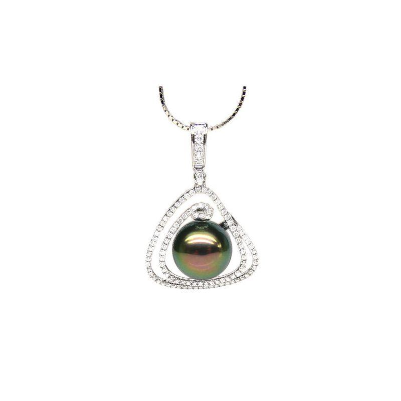 Ciondolo marino oro bianco - Perla di Tahiti nera pavone - 11/12mm