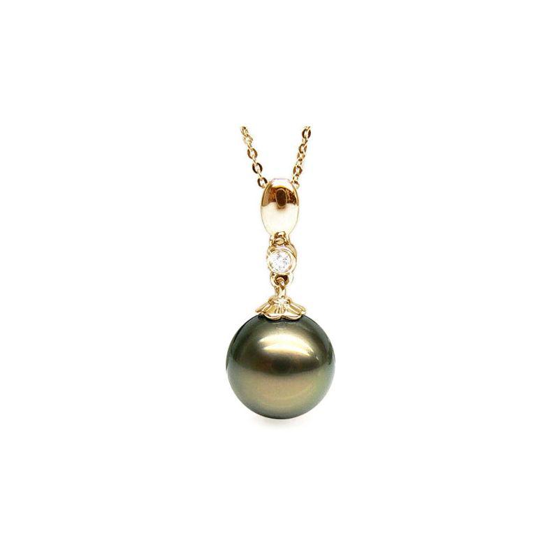 Ciondolo classico oro giallo - Perla di Tahiti nera, bronzo - 10/11mm
