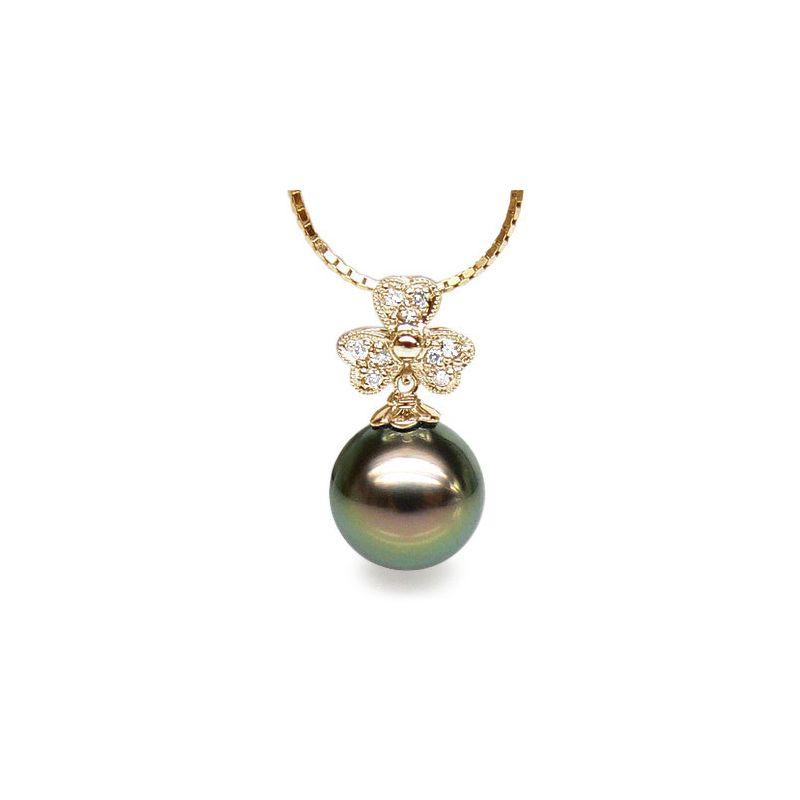 Ciondolo trifoglio oro giallo - Perla di Tahiti nera, pavone - 10/11mm