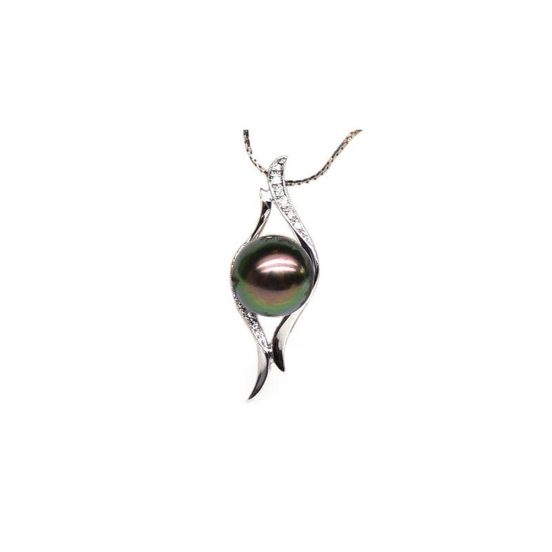 Ciondolo curve oro bianco - Perla di Tahiti nera, pavone - 10/11mm