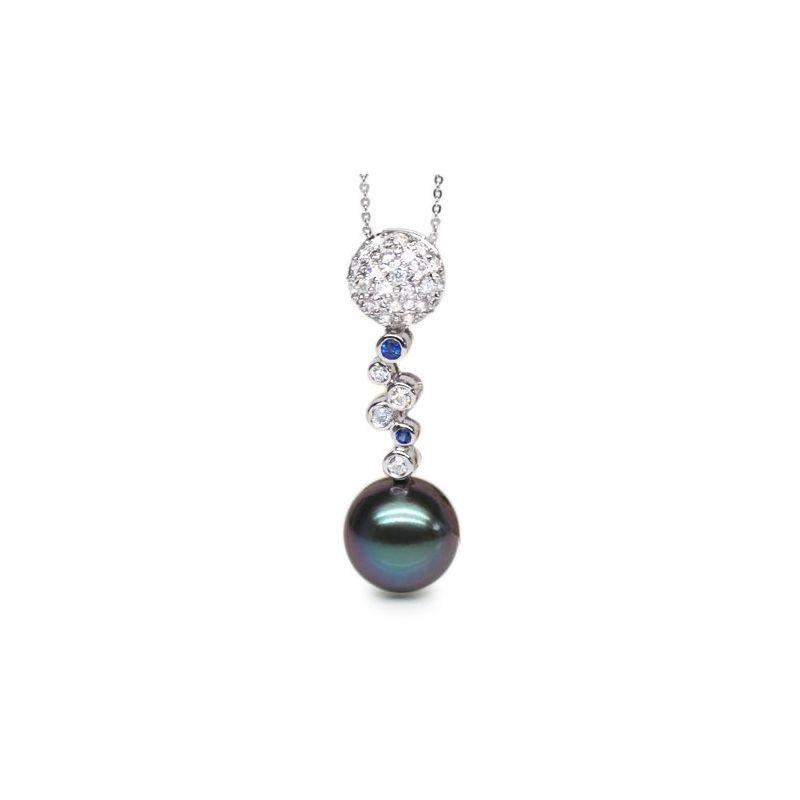Ciondolo oro bianco, diamanti e zaffiri - Perla di Tahiti nera, blu - 11/12mm