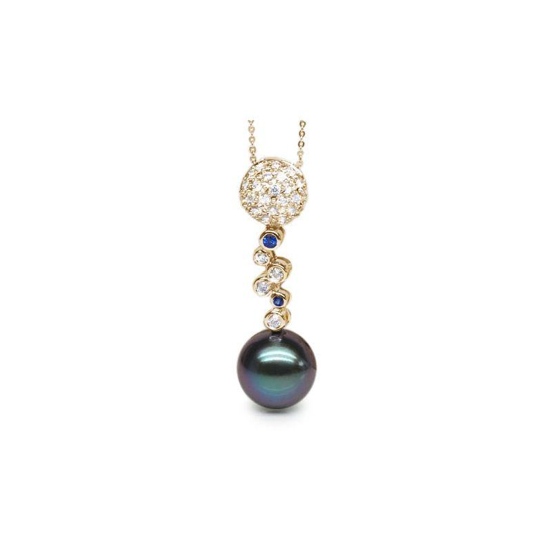 Ciondolo oro giallo, diamanti e zaffiri - Perla di Tahiti nera, blu - 11/12mm