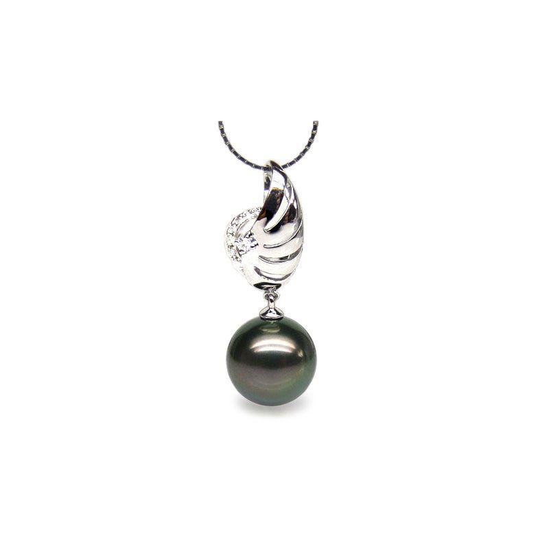 Ciondolo ala oro bianco - Perla di Tahiti nera, pavone - 10/11mm