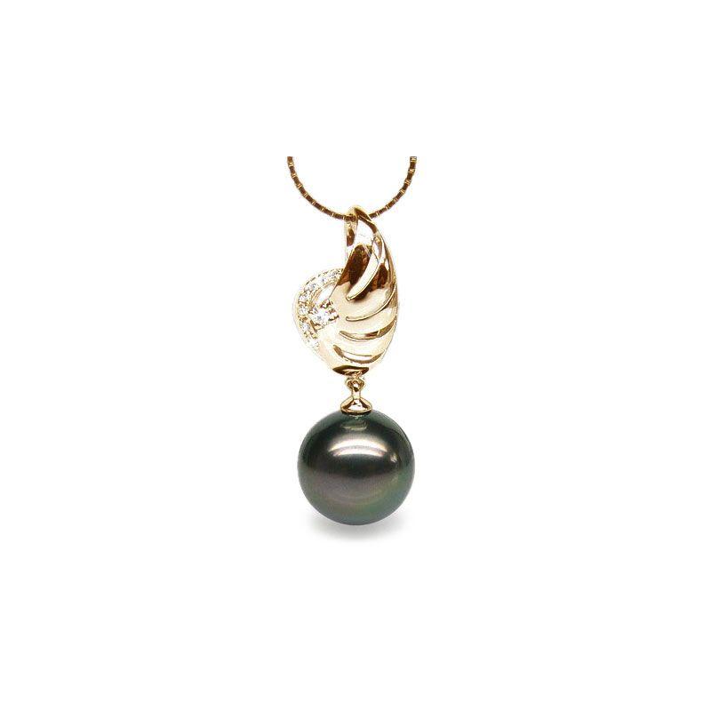 Ciondolo ala oro giallo - Perla di Tahiti nera, pavone - 10/11mm