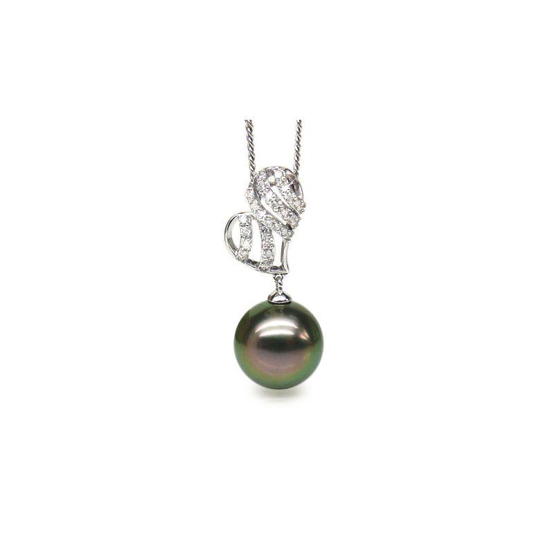 Ciondolo cuore oro bianco - Perla di Tahiti nera, pavone - 11/12mm