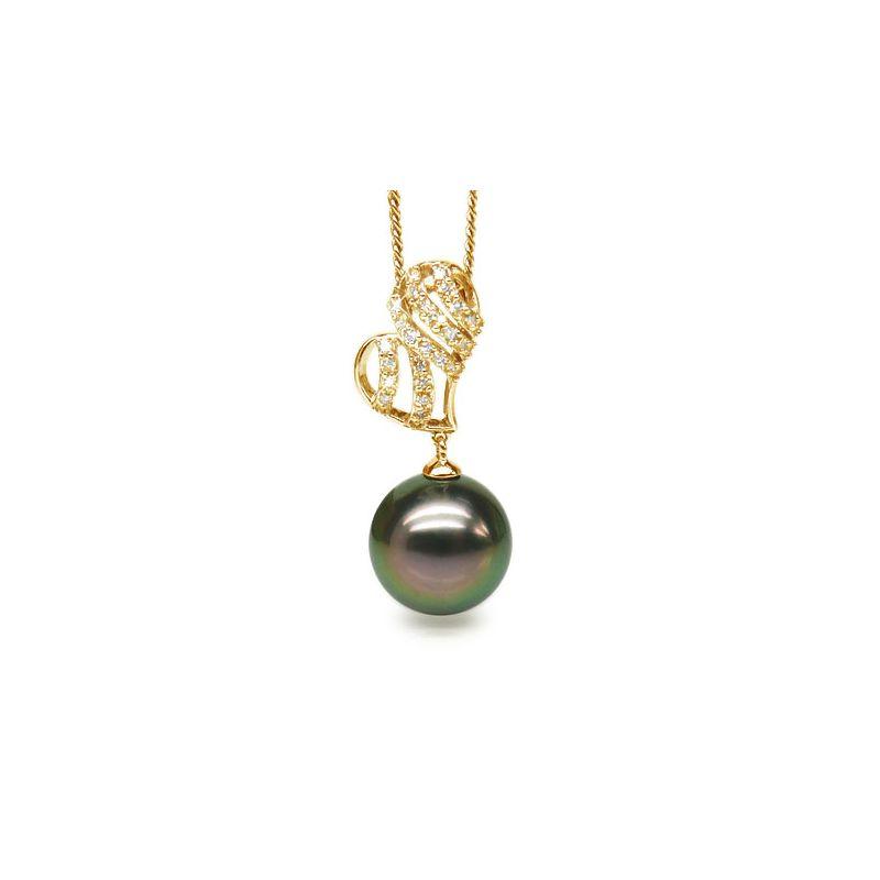 Ciondolo cuore oro giallo - Perla di Tahiti nera, pavone - 11/12mm