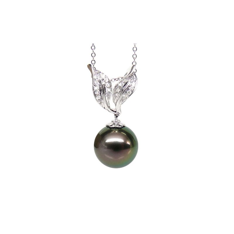 Ciondolo foglie oro bianco - Perla di Tahiti nera, pavone - 11/12mm