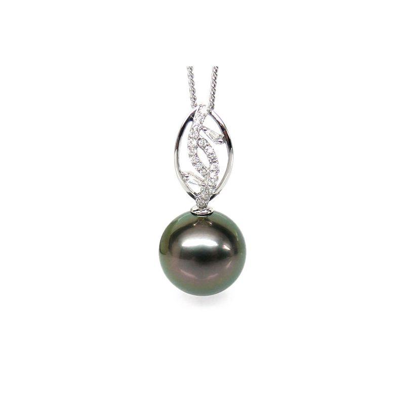 Ciondolo foglia oro bianco - Perla di Tahiti nera, pavone - 12/13mm