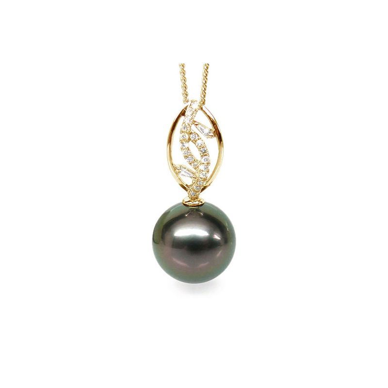 Ciondolo foglia oro giallo - Perla di Tahiti nera, pavone - 12/13mm