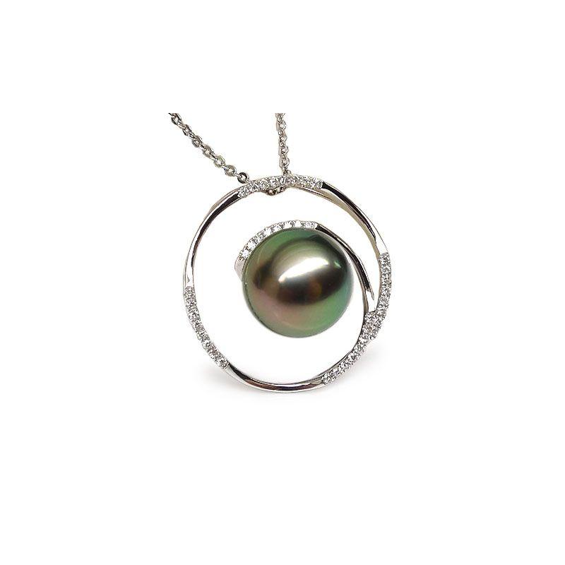 Ciondolo cerchio oro bianco - Perla di Tahiti nera, pavone - 10.5/11mm