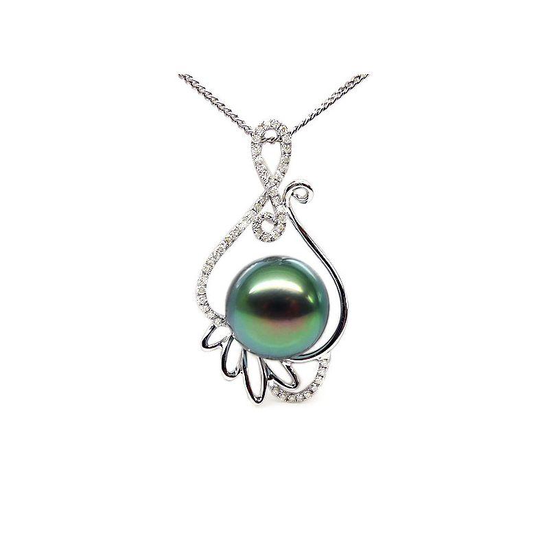 Ciondolo oro bianco - Perla di Tahiti nera, blu, verde - 11/12mm