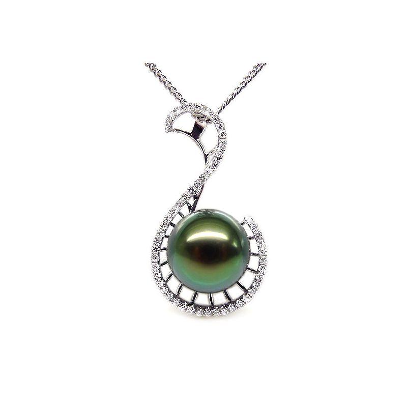 Ciondolo oro bianco - Perla di Tahiti nera, blu, verde - 10.5/11mm